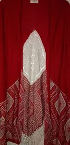 Kimono style cardigan with lace and fringe